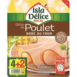 Isla Délice Délice de poulet doré au four halal la barquette de 4 tranches - 180 g