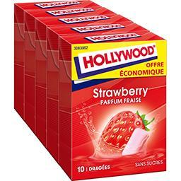 Hollywood Hollywood Chewing-gum parfum fraise sans sucres les 5 boites de 14 g -Offre Economique