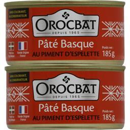 Orocbat Pâté basque au piment d'Espelette les 2 boites de 185 g