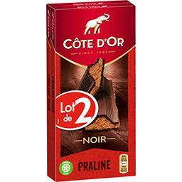 Côte d'Or Côte d'Or Chocolat noir praliné le lot de 2 tablettes de 200 g