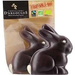 Chevaliers d'Argouges Lapin au chocolat noir BIO 72% de cacao le moulage de 70 g