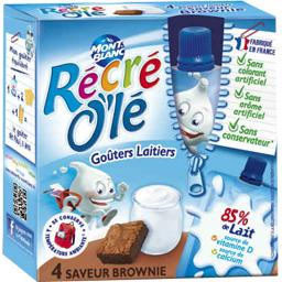 Mont Blanc Récré O'lé - Goûters laitiers saveur Brownie les 4 gourdes de 85 g