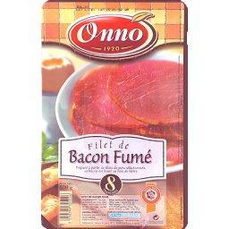 Filet de bacon fumé au bois de hêtre, x8 tranches, le paquet,100g