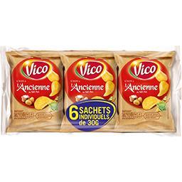 Vico Vico Chips à l'ancienne au sel fin le lot de 6 paquets de 30 g