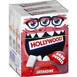 Hollywood Hollywood Chewing-gum parfum grenadine sans sucres les 3 boites de 14 g