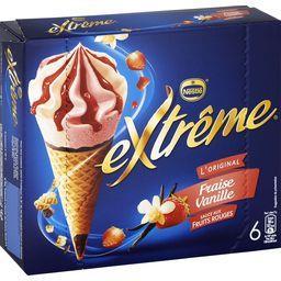 Nestlé Extrême L'Original - Cône fraise vanille sauce fruits rouges la boite de 6 - 426 g