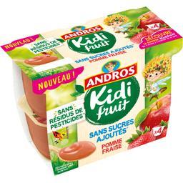 Andros Andros Kidi Fruit - Spécialité de pomme fraise les 4 pots de 85 g