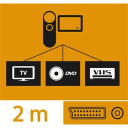 Cordon péritel mâle/3 RCA, 2 audio + 1 vidéo, 2 m