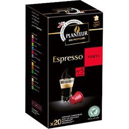 Planteur des Tropiques Capsules de café moulu Espresso Forte n°5 la boite de 20 capsules - 104 g