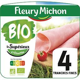 Fleury Michon Fleury Michon Jambon de qualité supérieure cuit au bouillon BIO le paquet de 4 tranches - 120g