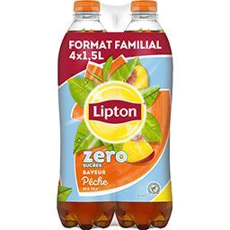 Lipton Lipton Ice Tea - Boisson zéro sucres saveur pêche les 4 bouteilles de 1,5 l