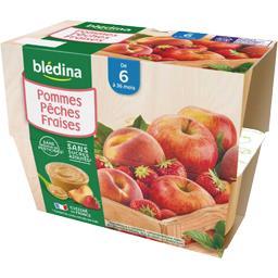 Blédina Blédina Desserts pommes pêches fraises, de 6 à 36 mois les 4 pots de 100 g