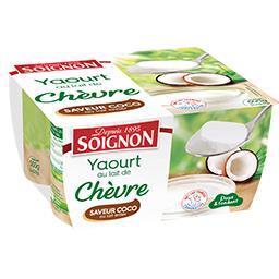 Soignon Soignon Yaourt au lait de chèvre saveur coco les 4 pots de 125 g