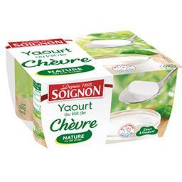 Soignon Soignon Yaourt au lait de chèvre nature les 4 pots de 125 g