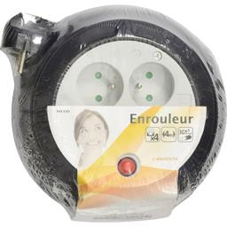 Enrouleur 3G1,5mm 4 prises 4m, noir