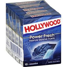 Hollywood Hollywood Power Fresh - Chewing-gum menthe forte sans sucres les 5 boites de 10 dragées - 70 g