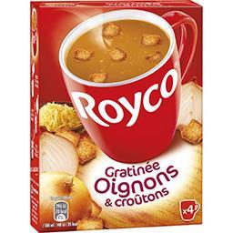 Royco Royco Les Minutes Soup - Gratinée oignons et croûtons la boite de 4 sachets - 62,4 g