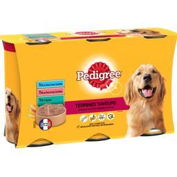 Pedigree Pedigree Terrines Saveurs 3 variétés pour chiens les 3 boites de 1250 g
