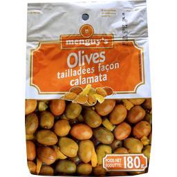 Olives tailladées façon calamata
