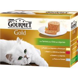 Gourmet Gourmet Gold - Les Terrines aux légumes pour chats les 12 boites de 85 g