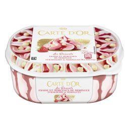 Carte d'Or Carte d'Or Les Desserts - Glace fraise & morceaux de meringues le bac de 500 g