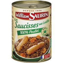 Les Saucisses aux Lentilles 100% poulet
