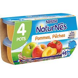 Nestlé Naturnes Purée de pommes pêches, dès 4/6 mois les 4 pots de 130 g