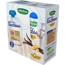 Blédina Gourdes lactées vanille, de 10 à 36 mois les 4 gourdes de 85 g