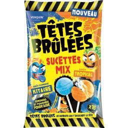 Têtes Brûlées - Sucettes Mix goûts tropical/frambois...