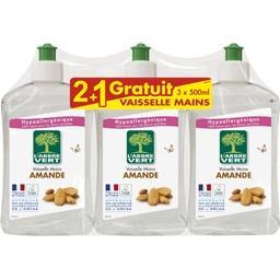 L'Arbre Vert Liquide vaisselle mains amande les 2 flacons de 500 ml