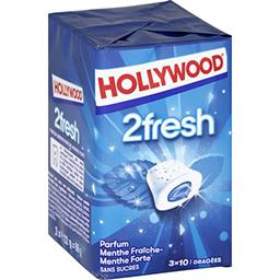 Hollywood Hollywood 2Fresh - Chewing-gum menthe fraîche/forte sans sucres les 3 boites de 10 dragées - 66 g