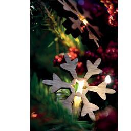 Guirlande LED 10 décorations bois flocons