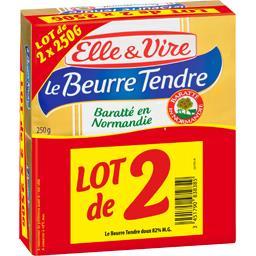 Elle & Vire Elle & Vire Beurre tendre doux les lot de 2 plaquettes de 250 gr