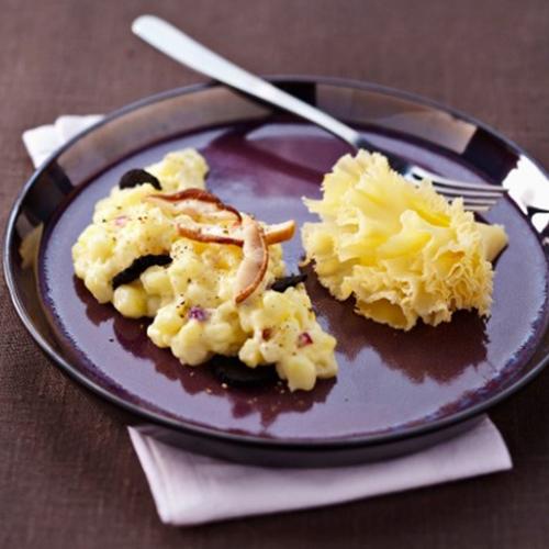 Pommes de terre à la Tête de Moine AOC, truffes et cèpes, façon risotto