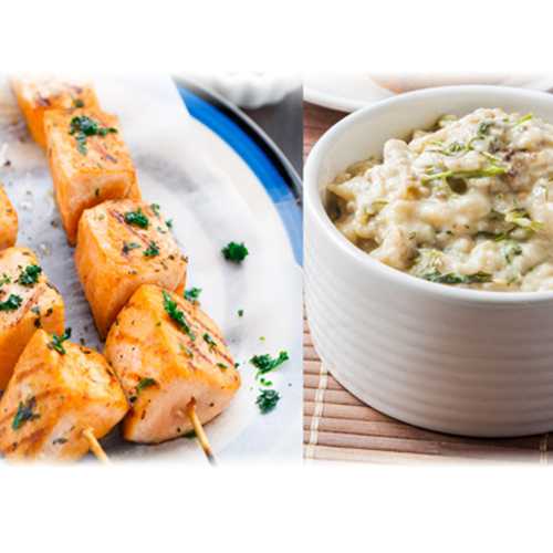 Brochette de saumon sauce persillée et caviar d'aubergine mayonnaise