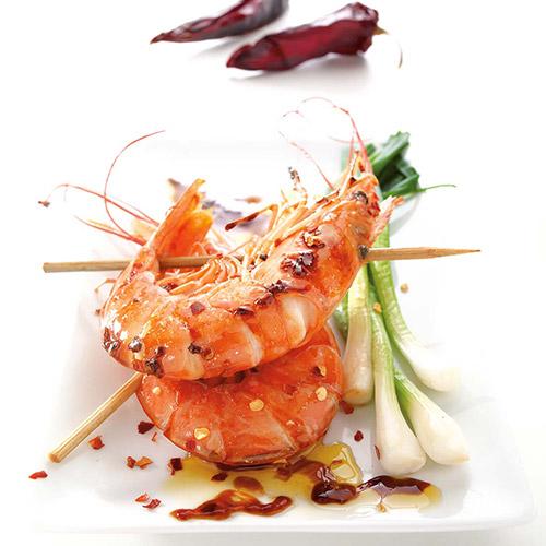 Crevettes rouges d'Argentine caramélisées au piment