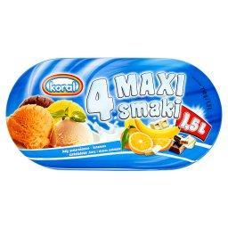 4 Maxi smaki Lody pomarańczowo-bananowo-czekoladowe (biała i ciemna czekolada) 1,5 l