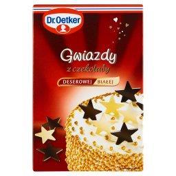 Gwiazdy z czekolady deserowej i białej  (12 sztuk)