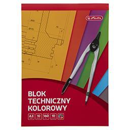 Blok techniczny kolorowy A3, 10 kartek