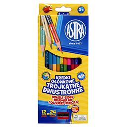 Astra Kredki ołówkowe trójkątne dwustronne 24 koloró...