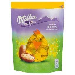 Jajka z czekolady mlecznej z kawałkami orzechów lask...