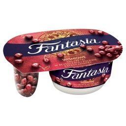 Jogurt kremowy wiśniowe galaretki w błyszczącej pole...