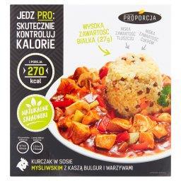 Kurczak w sosie myśliwskim z kaszą bulgur i warzywami