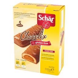 Chocolix Bezglutenowy baton z nadzieniem karmelowym w polewie czekoladowej 110 g (5 sztuk)