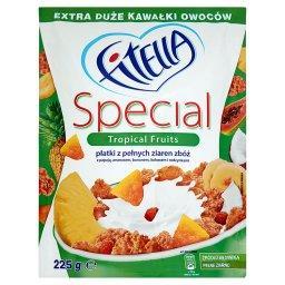 Special Płatki z pełnych ziaren zbóż z papają ananasem bananem kokosem i rodzynkami