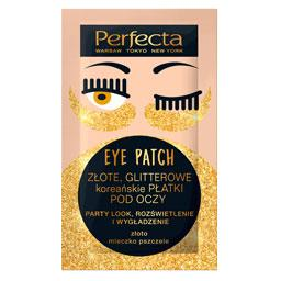 Perfecta EYE PATCH ZŁOTE, GLITTEROWE koreańskie PŁAT...