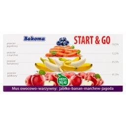 Start & Go Mus owocowo-warzywny jabłko-banan-marchew-jagoda 200 g