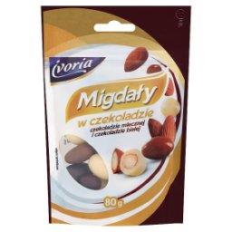 Migdały w czekoladzie mlecznej i czekoladzie białej