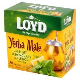 Yerba Mate Herbata aromatyzowana z miętą i trawą cytrynową o smaku cytryny 34 g (20 torebek)
