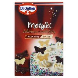 Motylki Dekoracje z czekolady mlecznej i białej  (12...